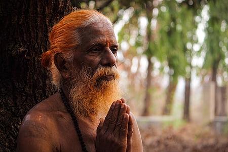 macro photography of bearded man praying