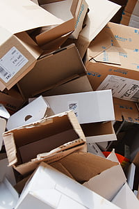 pile of brown boxes