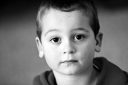 grayscale photography of boy head