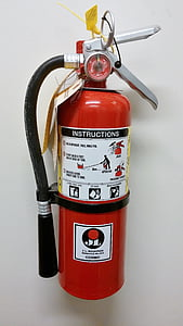 mounted red fire extinguisher