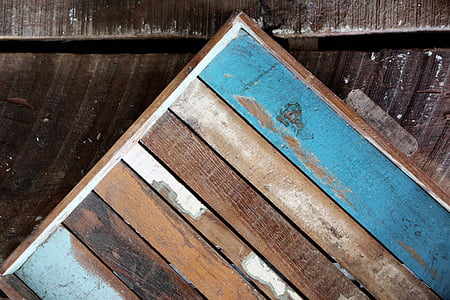 brown and blue wooden board
