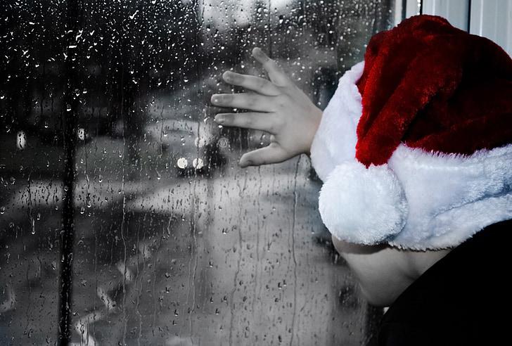 rainy, christmas, grief, child, kid, boy