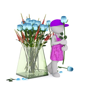 blue rose flowers in glass vase beside male mannequin holding rose flower and wearing pink cap and apron
