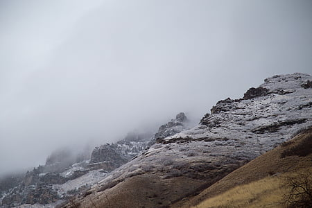 mountain slope with fogs