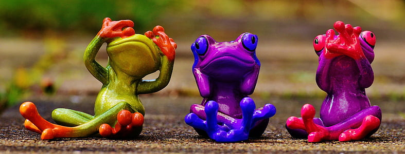 three assorted-color frog figurines