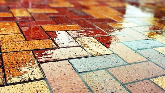 assorted-color brick flooring
