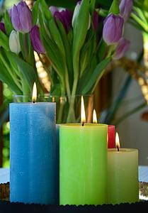 lit pillar candles beside purple tulips