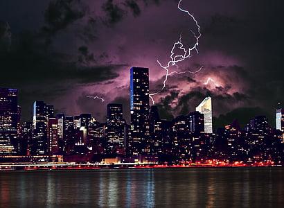 lightnings on city
