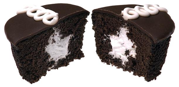 slice of chocolate cake with white cream