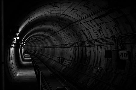 grayscale photo of subway