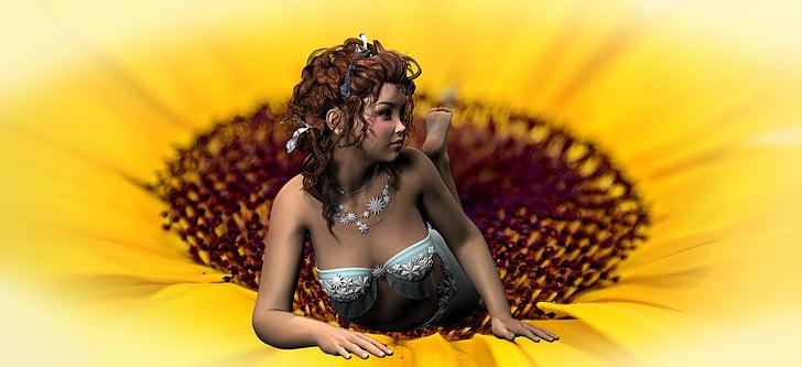 elf, girl, sun flower, pretty, fantasy, relax