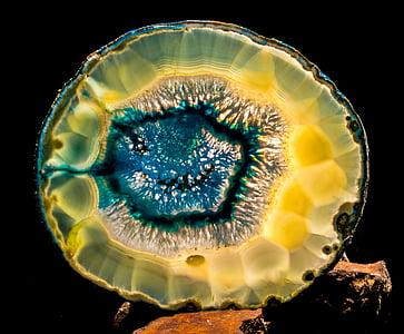 yellow and blue gemstone