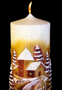 brown and white pillar candle