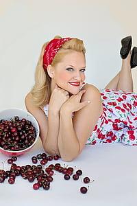 cherries, sweet cherries, pretty woman, sweet, food, fruit
