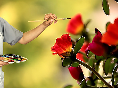 person in grey shirt painting red flowers forced perspective macro photography