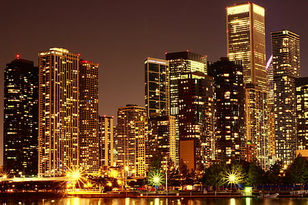 photo of buildings night lights