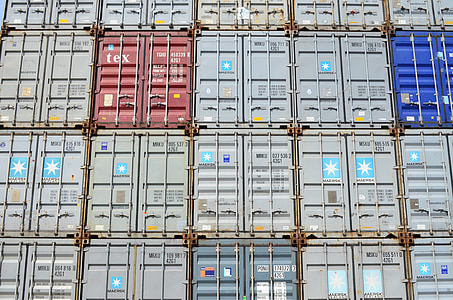 pile of intermodal box containers