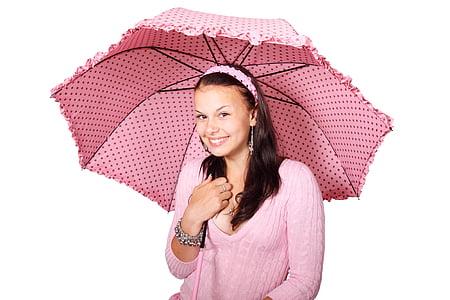 woman wearing pink scoop-neck sweater using umbrella