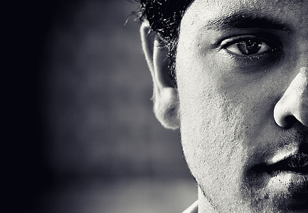 grayscale photography of man face