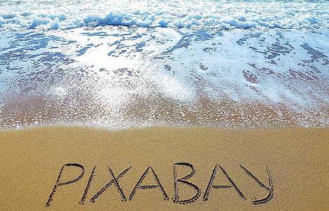 Pixabay text on seashore
