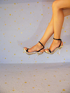 woman wearing white open-toe ankle-strap pump sandals