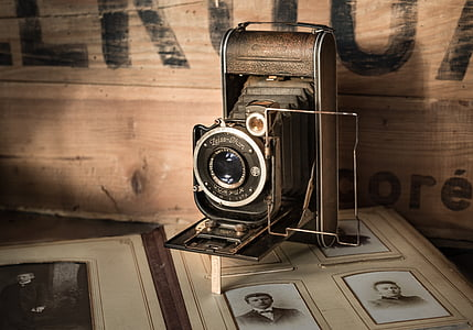 gray and black land camera with stand