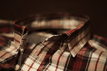 closeup photography white and red plaid collared top