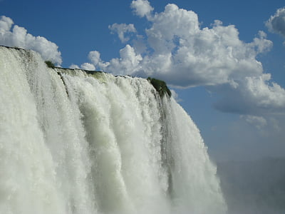 landscape photography of waterfalls under clear blue cloudy sky