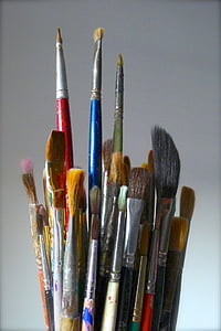 closeup photo of paint brush lot