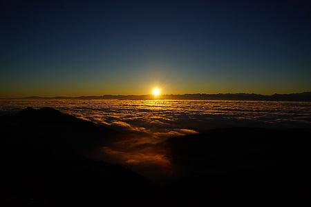 sunset on seashore