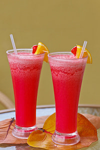 two shakes in drinking glasses