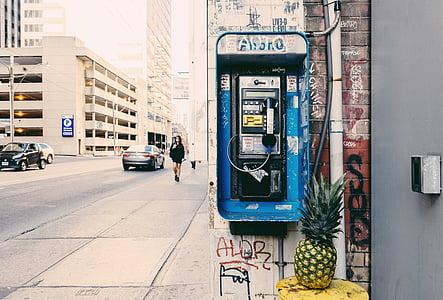 pineapple fruit beside blue payphone