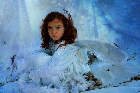 girl in white long-sleeved dress