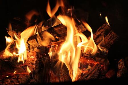 shallow focus of bonfire