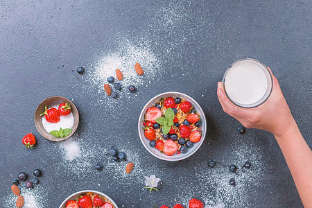 fruit salad in white bowl