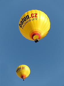 two Balon. CZ hot air balloons under blue sky