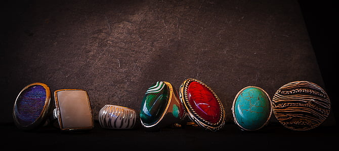 assorted rings with assorted gemstones