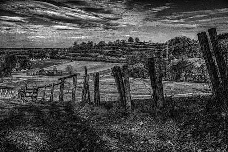 grayscale photo of fence near grass field