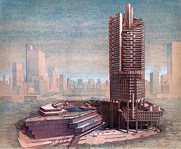 gray tower near body of water artwork