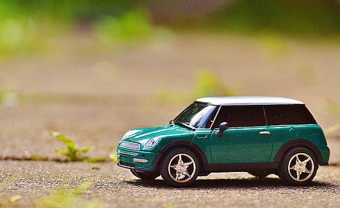 green Mini Cooper scale model