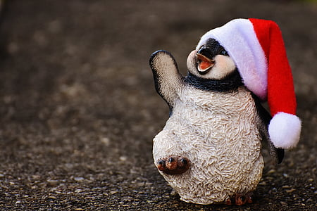 penguin, figure, christmas, santa hat, decoration, funny
