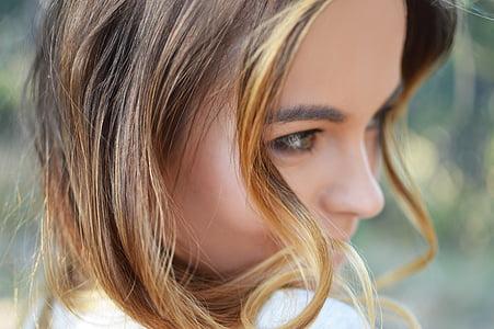 woman wearing white shirt closeup photo