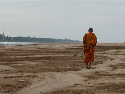 monk walking on soil beside water and forest