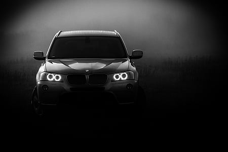 grayscale photography of BMW X-Series SUV