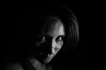 grayscale photograph of woman