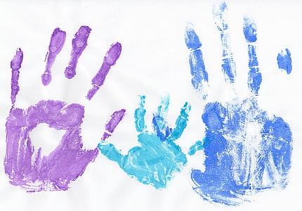 several handprints