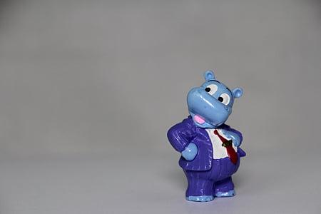blue hippopotamus plastic toy