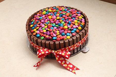 multicolored chocolate cake