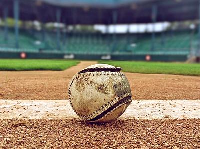 selective focus photography of white baseball inside the stadium