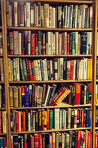 book lot on brown wooden rack